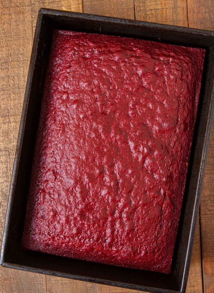 Red Velvet Sheet Cake in baking pan without frosting
