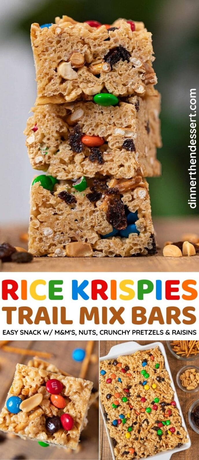 Rice Krispies Trail Mix Bars collage