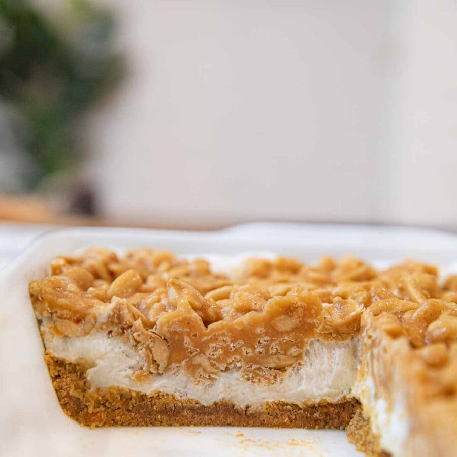 Salted Peanut Chews in baking dish