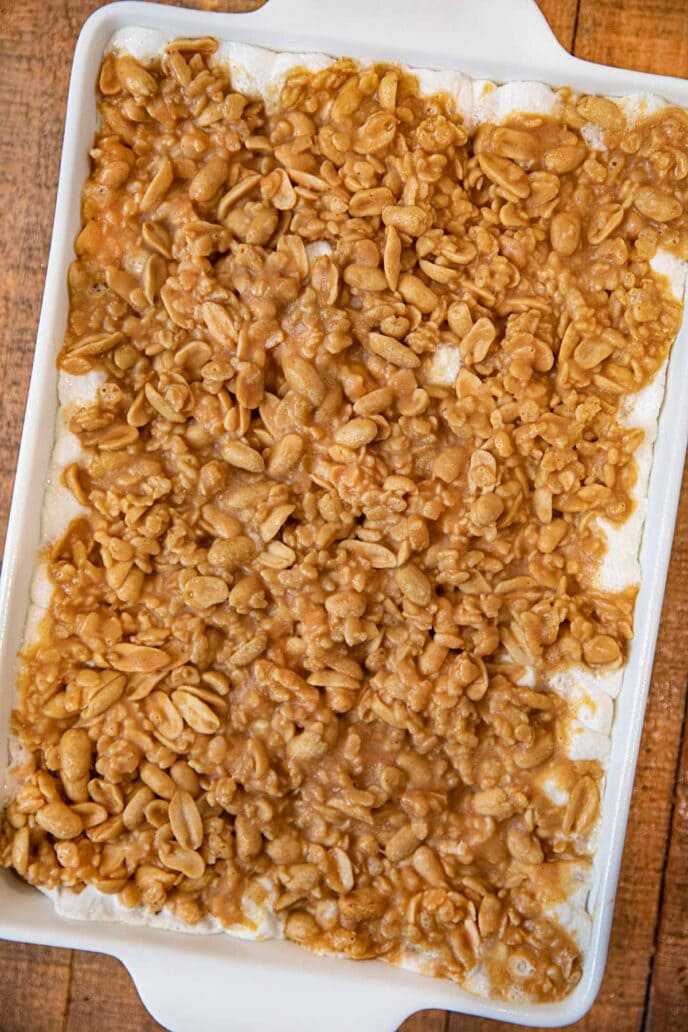 Salted Peanut and Marshmallow chews in baking dish