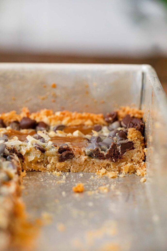 Samoas Layer Bars cross section in baking dish
