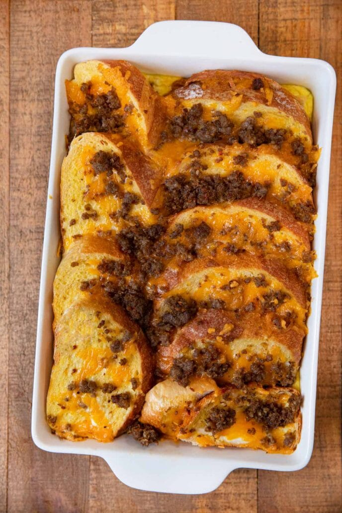 Sausage Cheddar French Toast Casserole in baking dish, top view