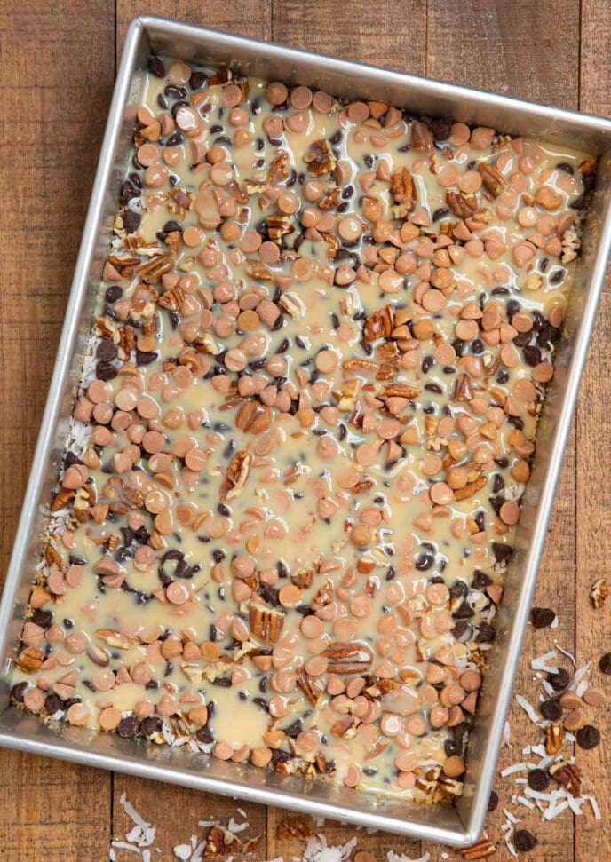 Seven Layer Bars in baking dish before baking