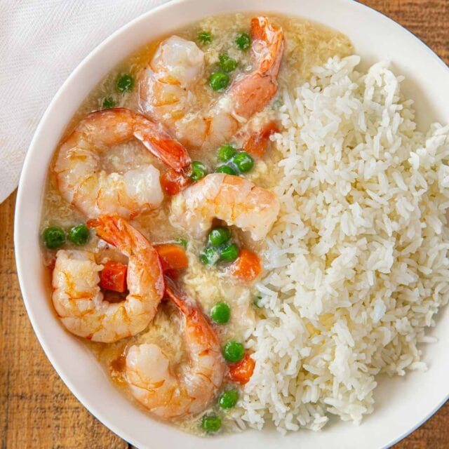 Shrimp in Lobster Sauce with large shrimp and peas and carrots