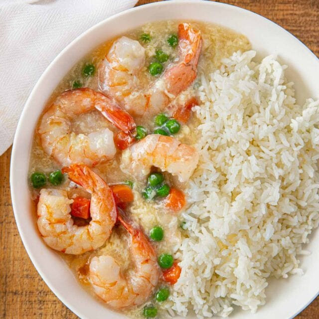 Shrimp in Lobster Sauce in white bowl
