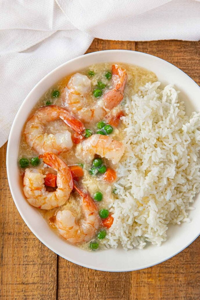 Shrimp in Lobster Sauce in white bowl