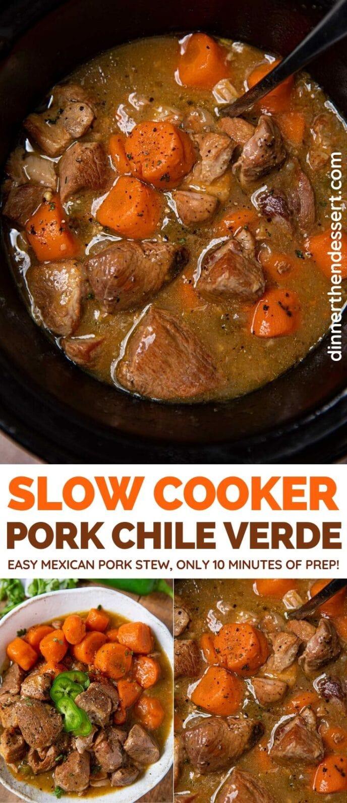 Slow Cooker Pork Chile Verde collage