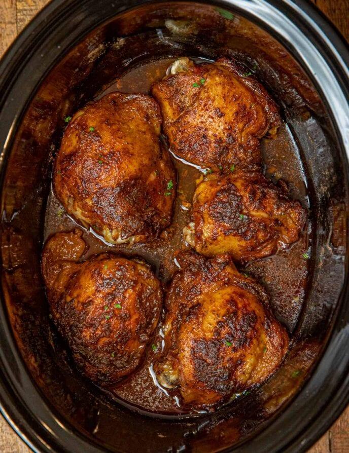 Slow Cooker Rotisserie Chicken Thighs in crockpot