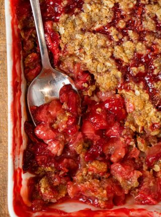 Strawberry Crisp in baking dish