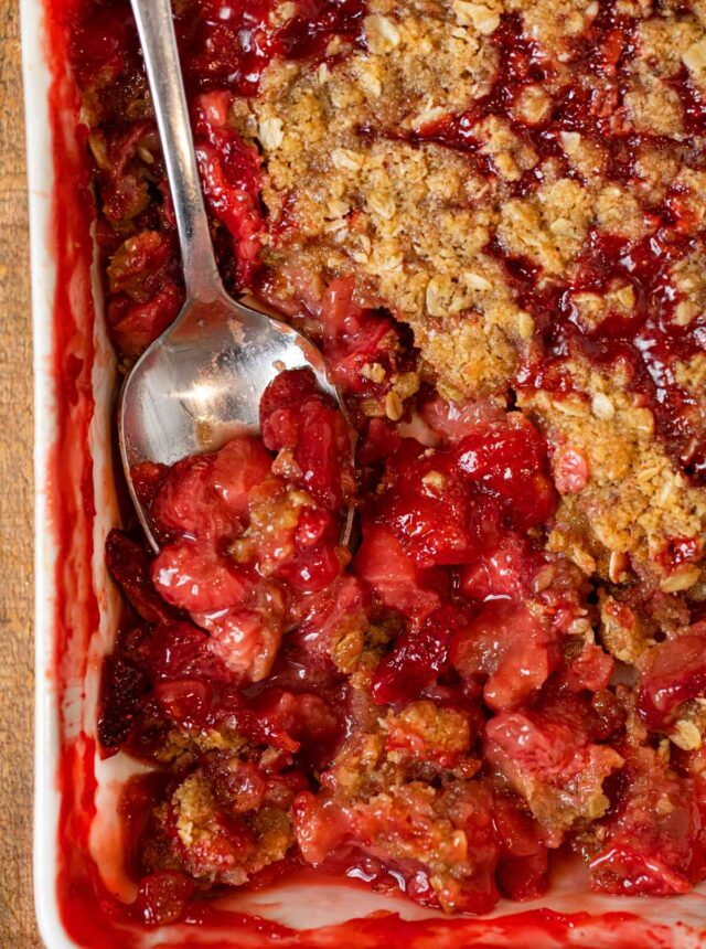 Strawberry Crisp in baking dish