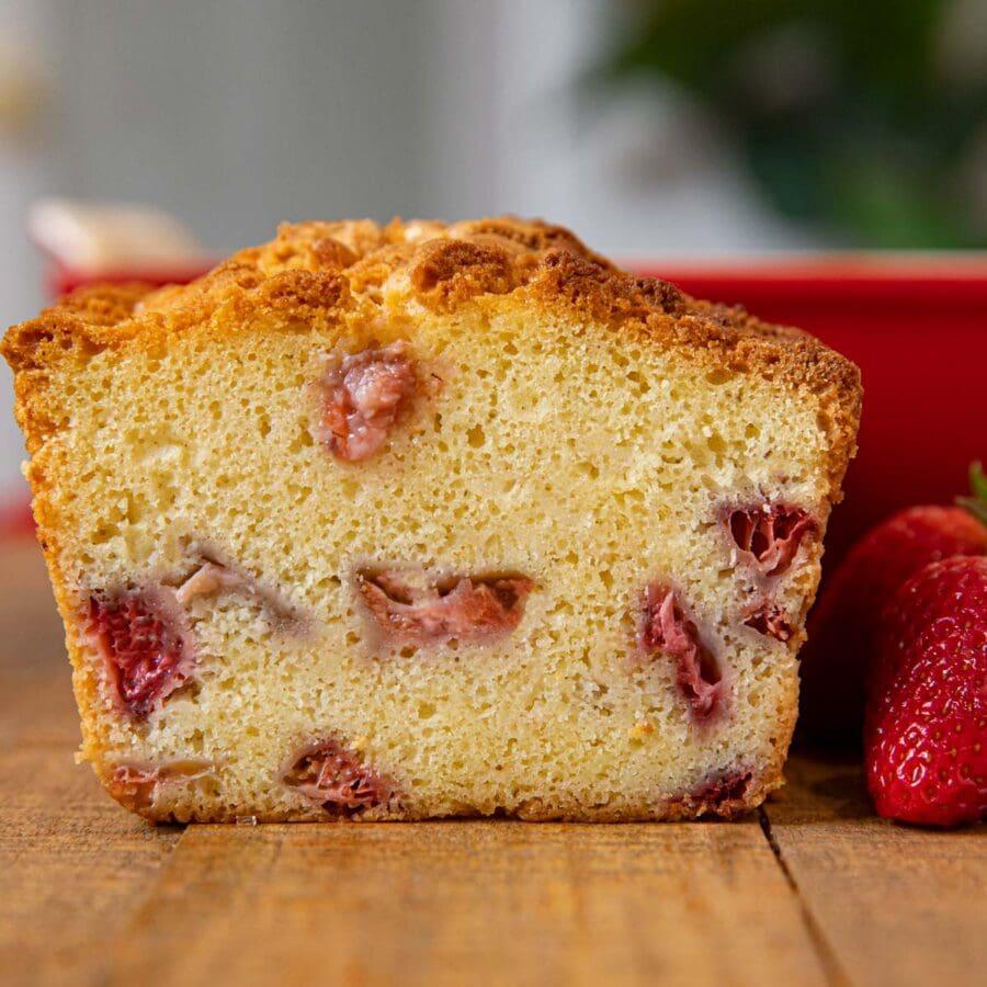 Strawberry Shortcake Loaf with fresh strawberries inside