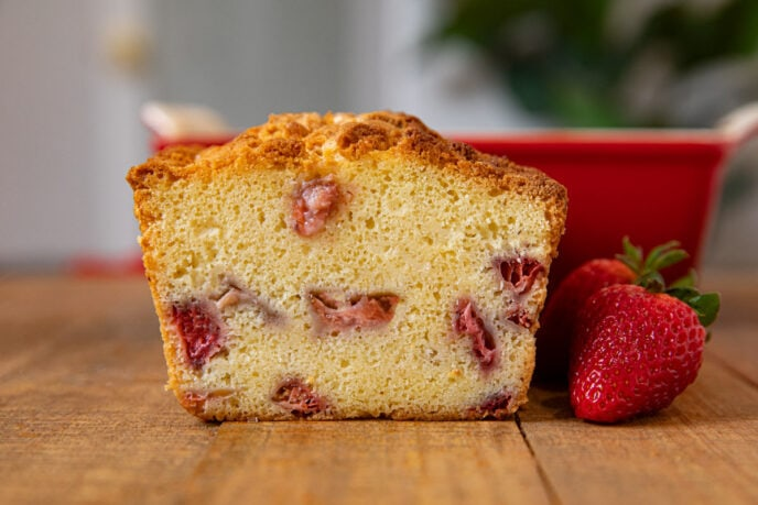 Cut cross-section of Strawberry Shortcake Loaf