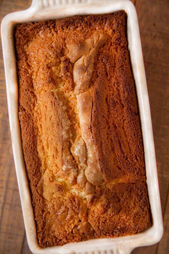 Strawberry Shortcake Loaf in loaf pan