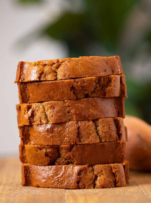 Sweet Potato Bread slices in stack