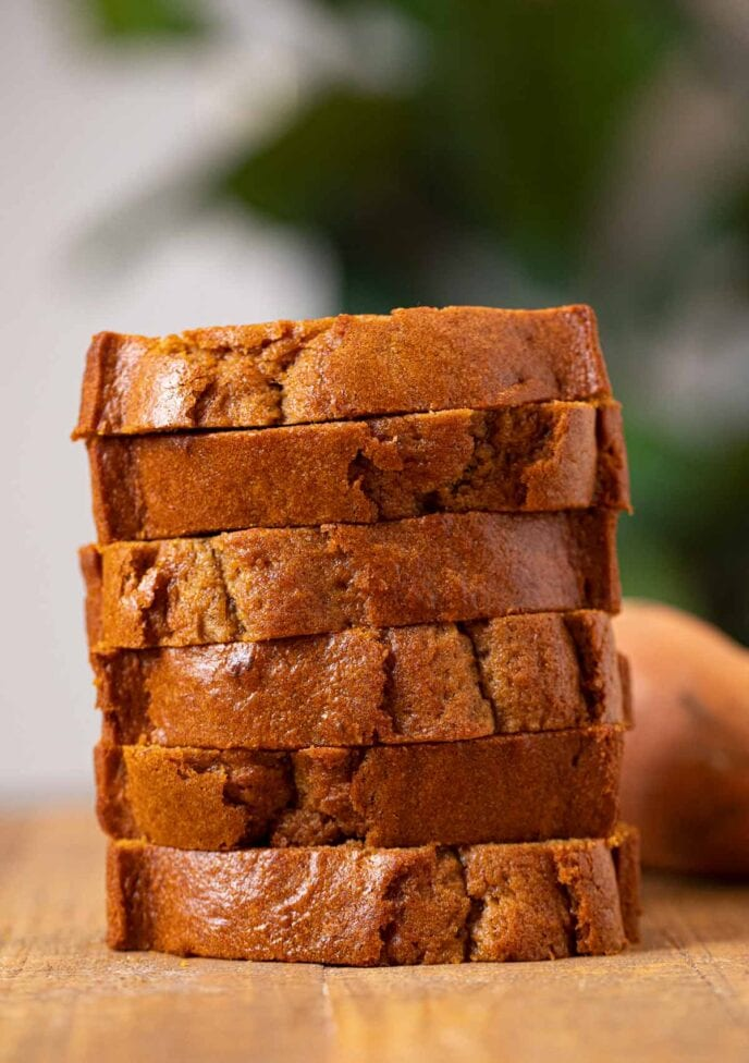 Sweet Potato Bread slices in stack