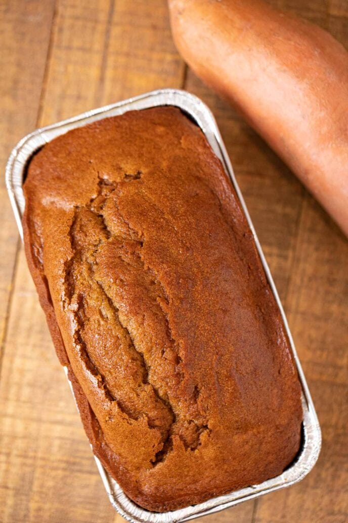 Sweet Potato Bread in loaf pan