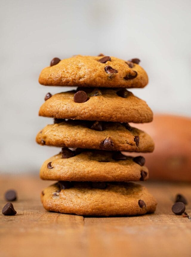 Sweet Potato Chip Cookies in a stack