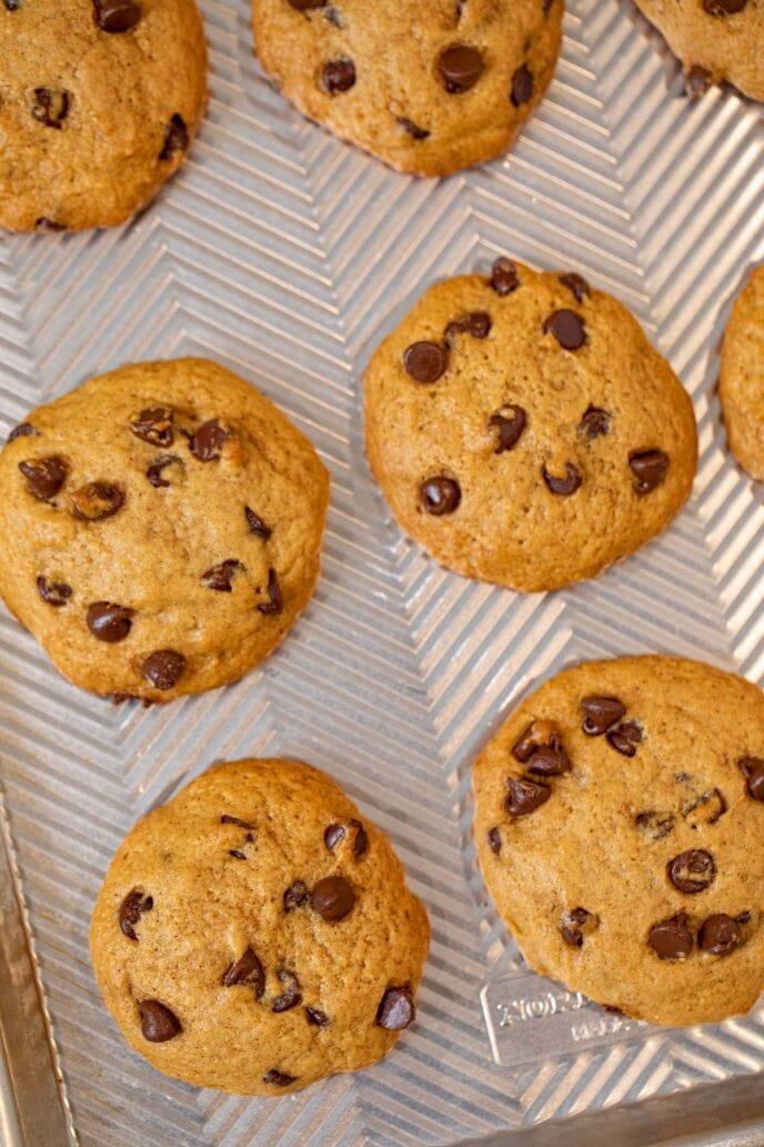 Sweet Potato Chocolate Chip Cookies on baking sheet