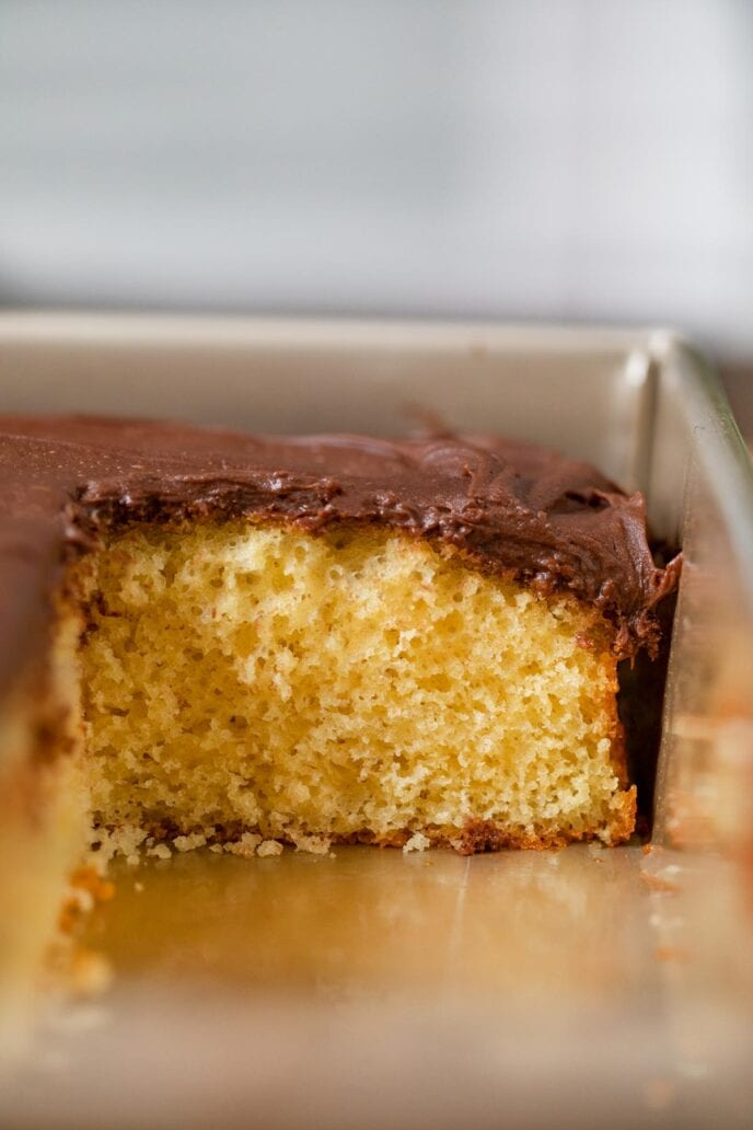 Yellow Sheet Cake with Chocolate Frosting cross-section in baking pan