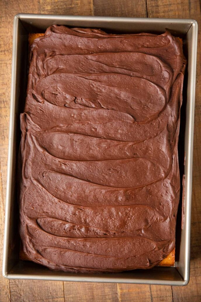 Yellow Sheet Cake with Chocolate Frosting in baking pan