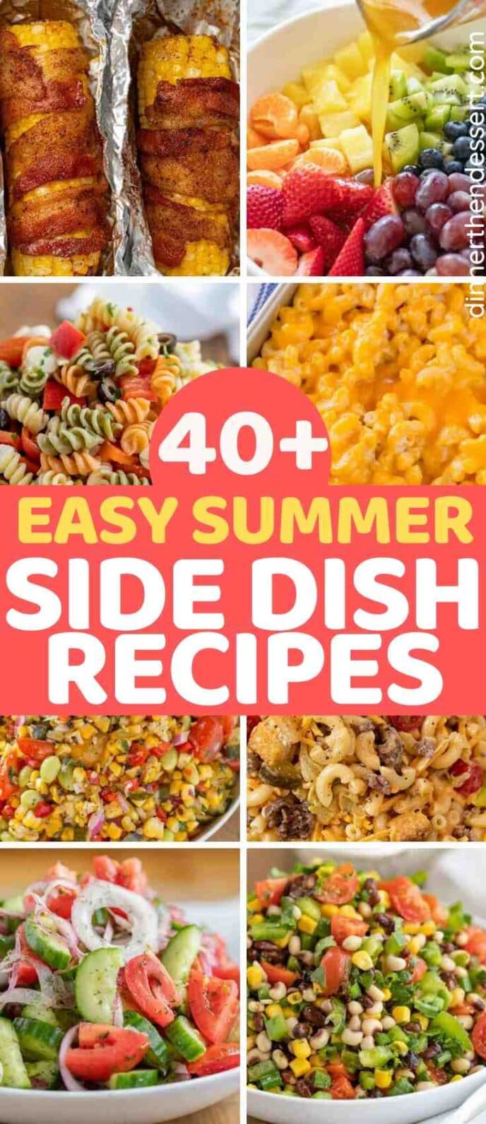 Collage of Summer Side Dishes with text through the middle