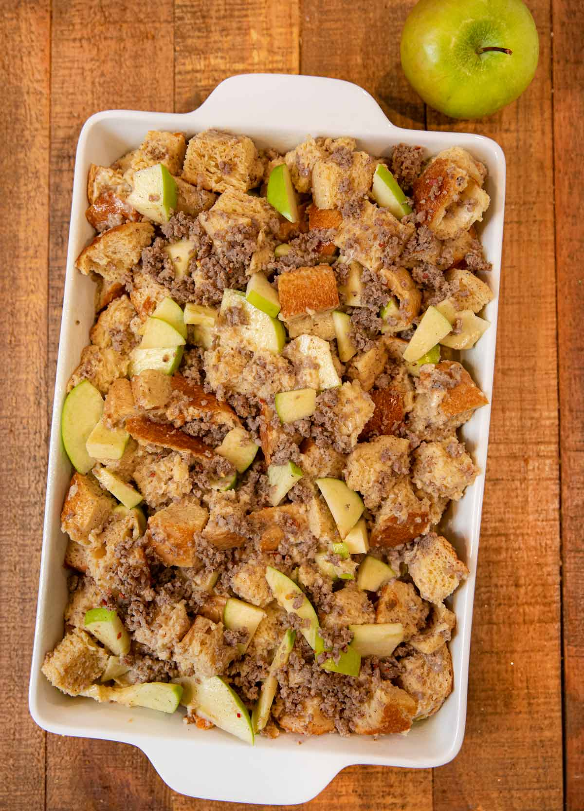 Sausage and Apple Breakfast Bake before baking