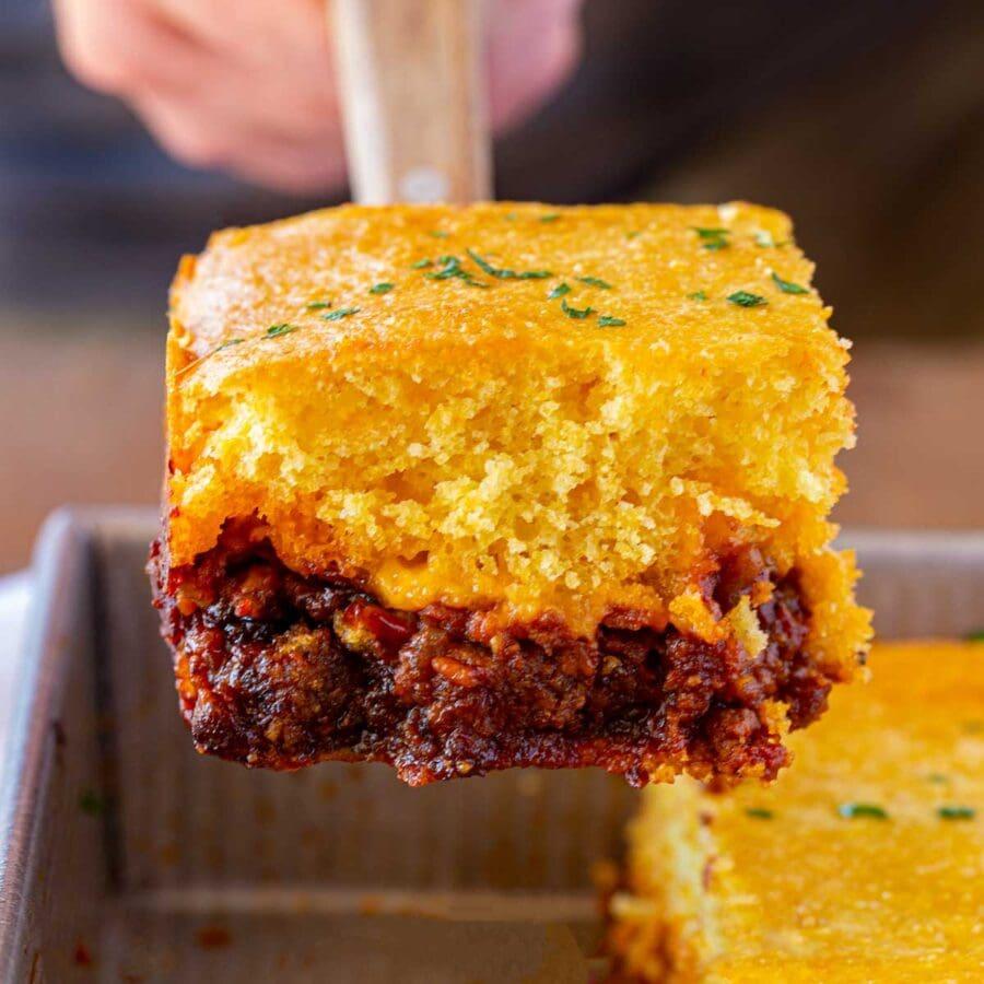 BBQ Beef Cornbread Casserole square on spatula