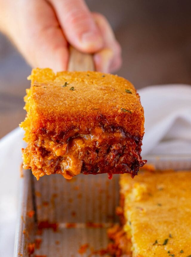 BBQ Chicken Cornbread Casserole serving on spatula