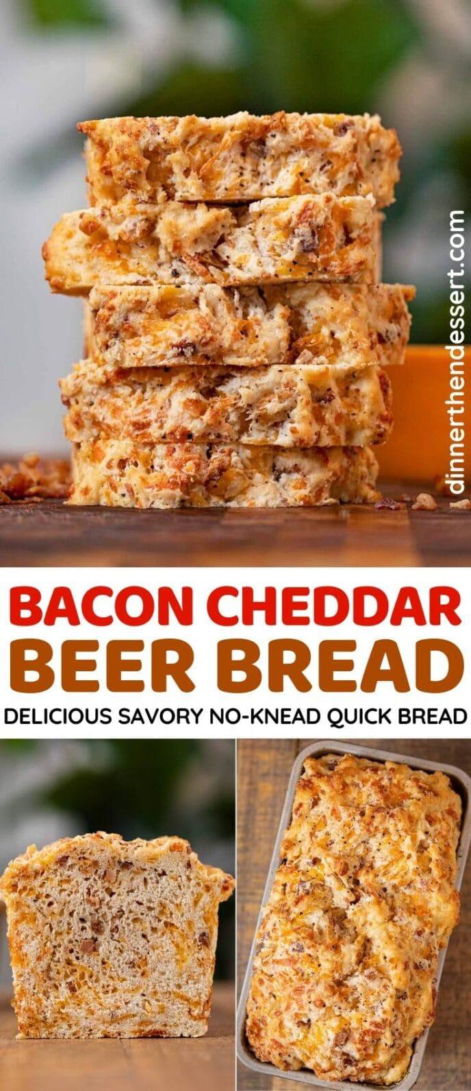Bacon Cheddar Beer Bread collage