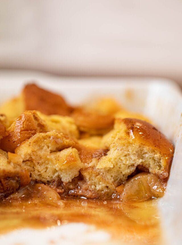 Bananas Foster French Toast Bake cross section in baking pan