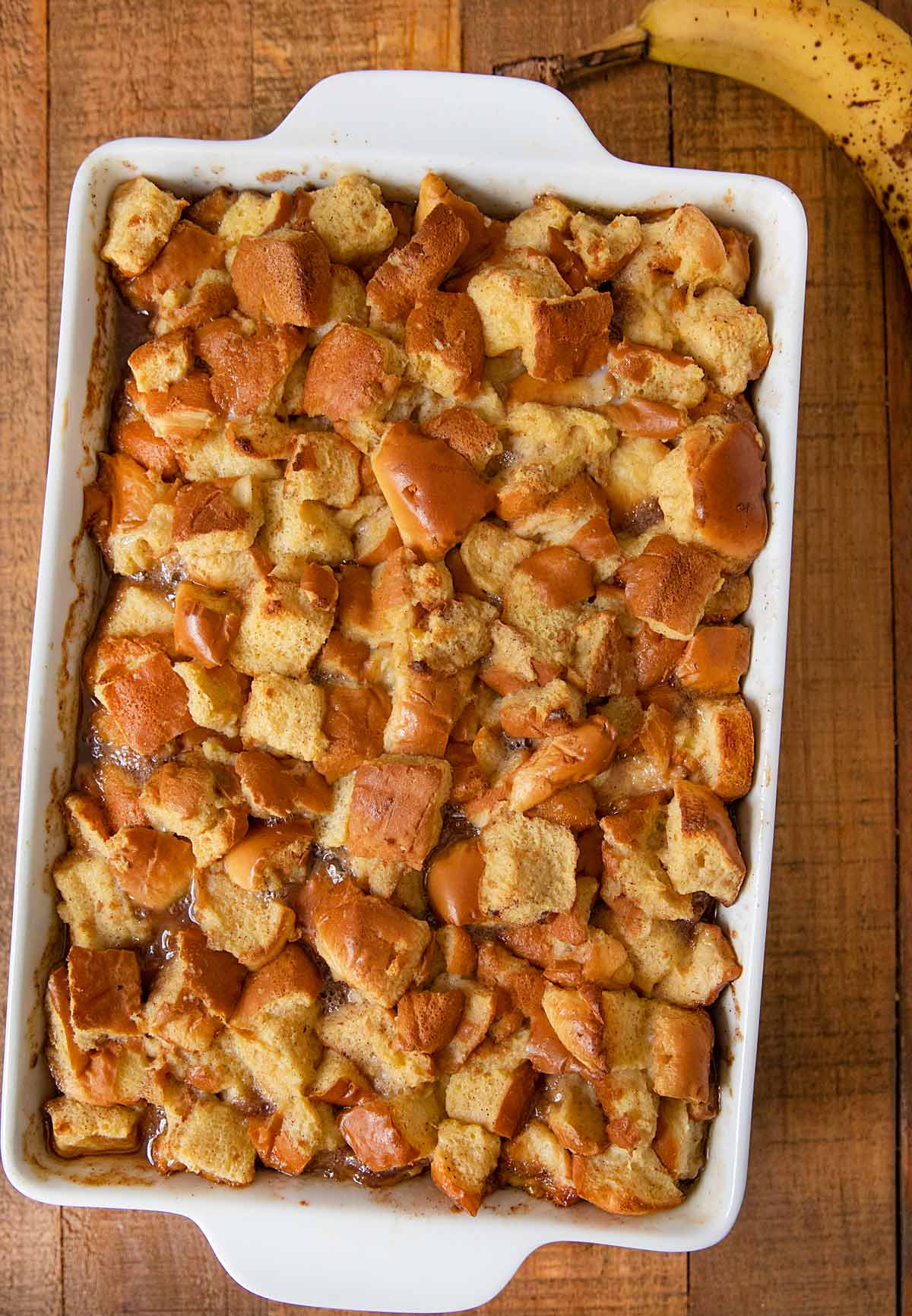 Bananas Foster French Toast Bake after baking