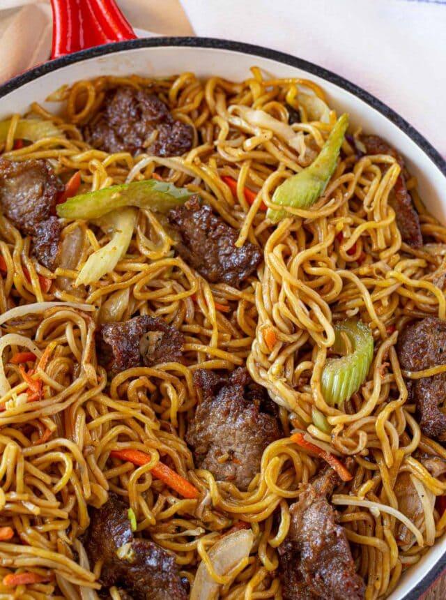 Beef Lo Mein in skillet