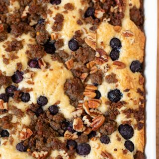 One side of Blueberry Pecan Sausage Casserole in baking dish