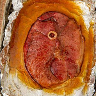 Brown Sugar Ham Steak in baking dish