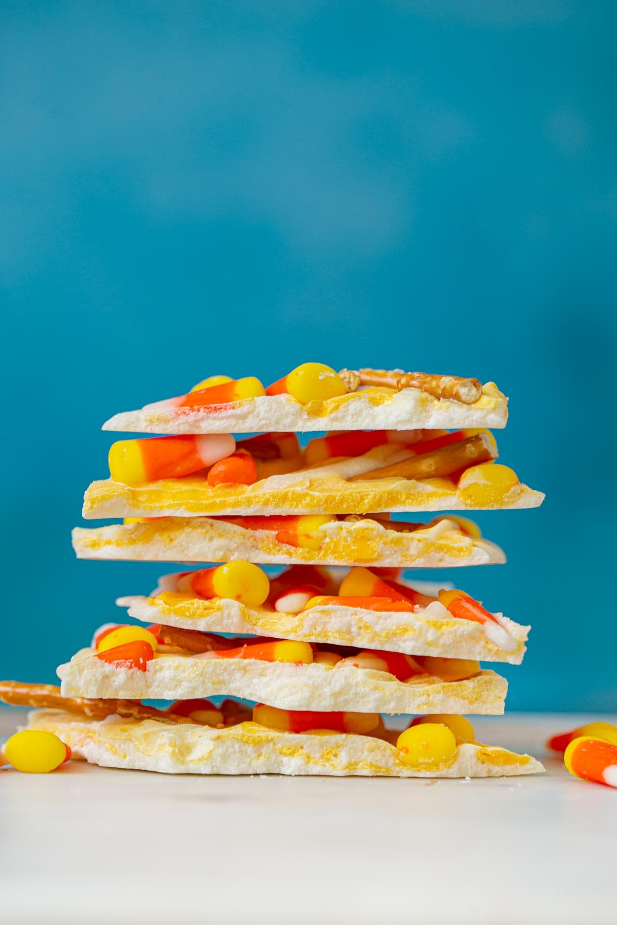 Candy Corn Bark in stack