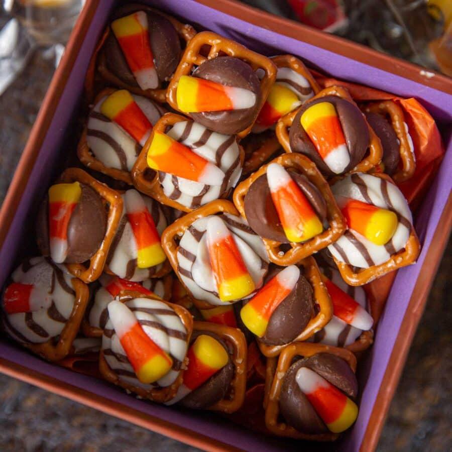 Candy Corn Pretzel Hugs in gift box