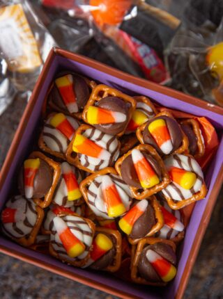 Candy Corn Pretzel Hugs in gift box