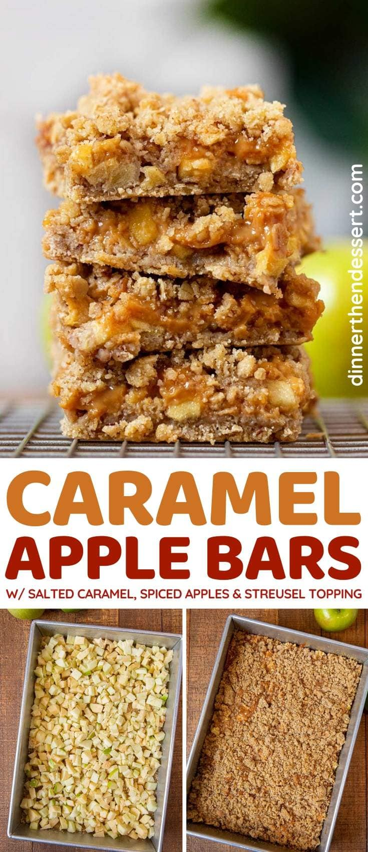 Caramel Apple Bars collage