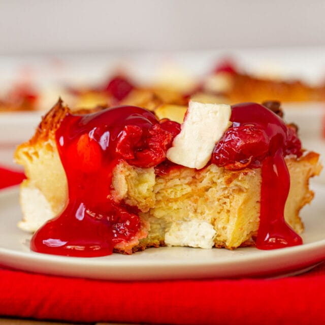 Cherry Danish Breakfast Bake with glaze