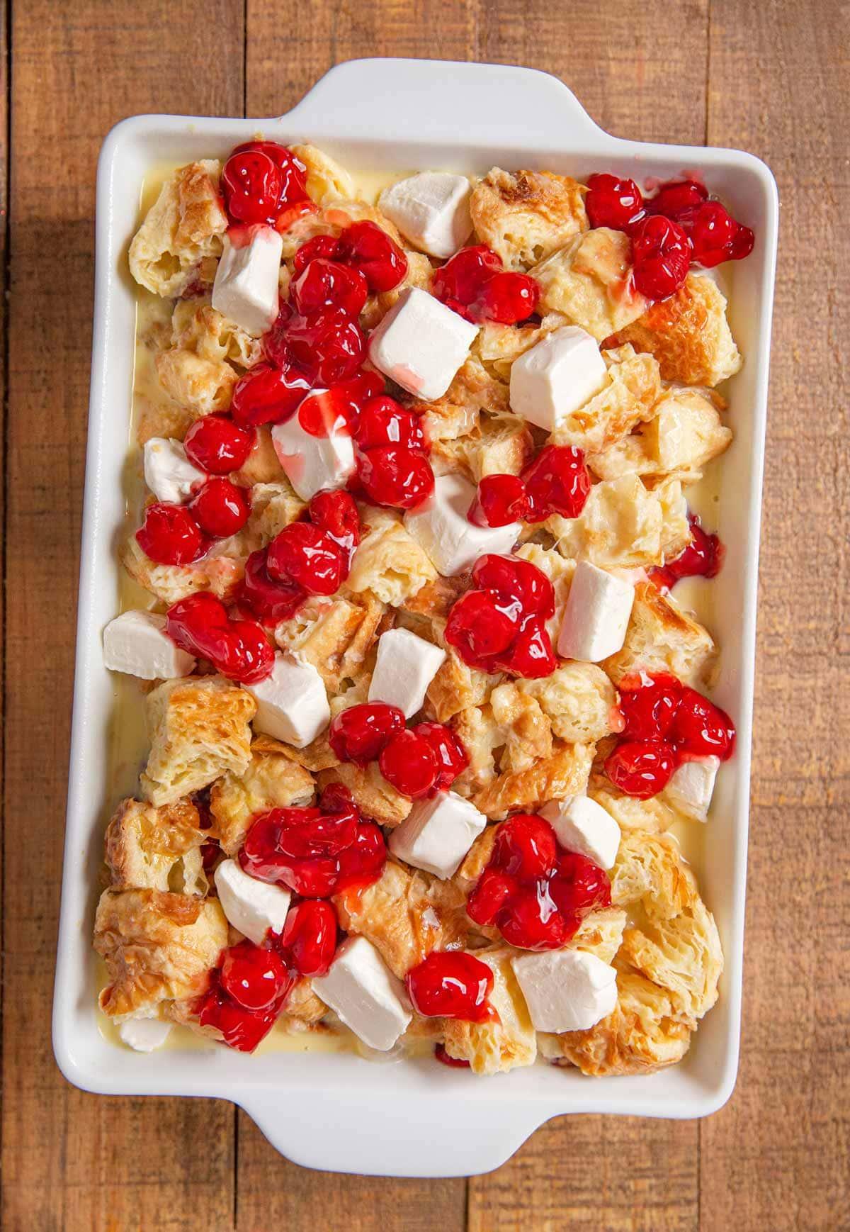Cherry Danish Breakfast Bake before baking