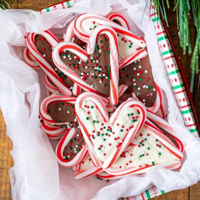 Chocolate Peppermint Hearts in Christmas box