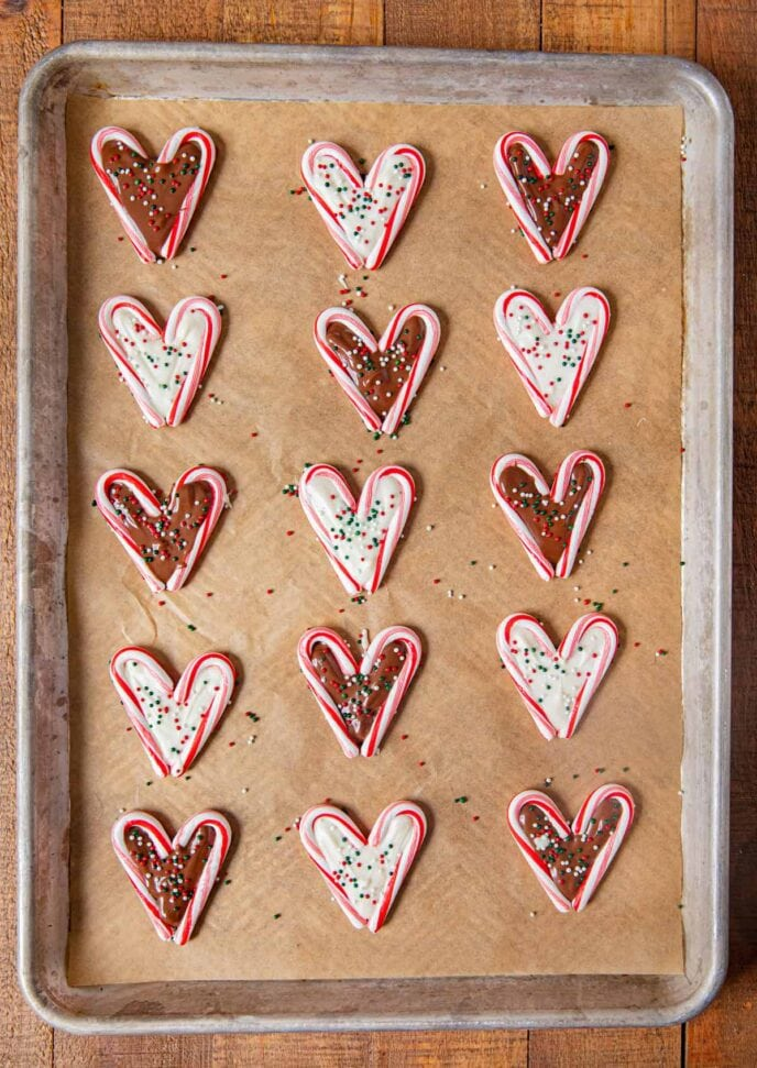 Chocolate Peppermint Hearts lined up on baking sheet