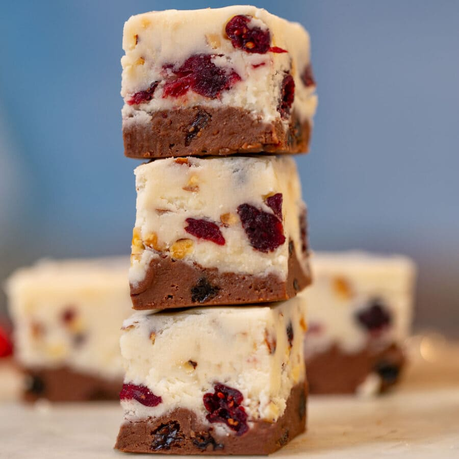 Chocolate Vanilla Fruit and Nut Fudge pieces in stack