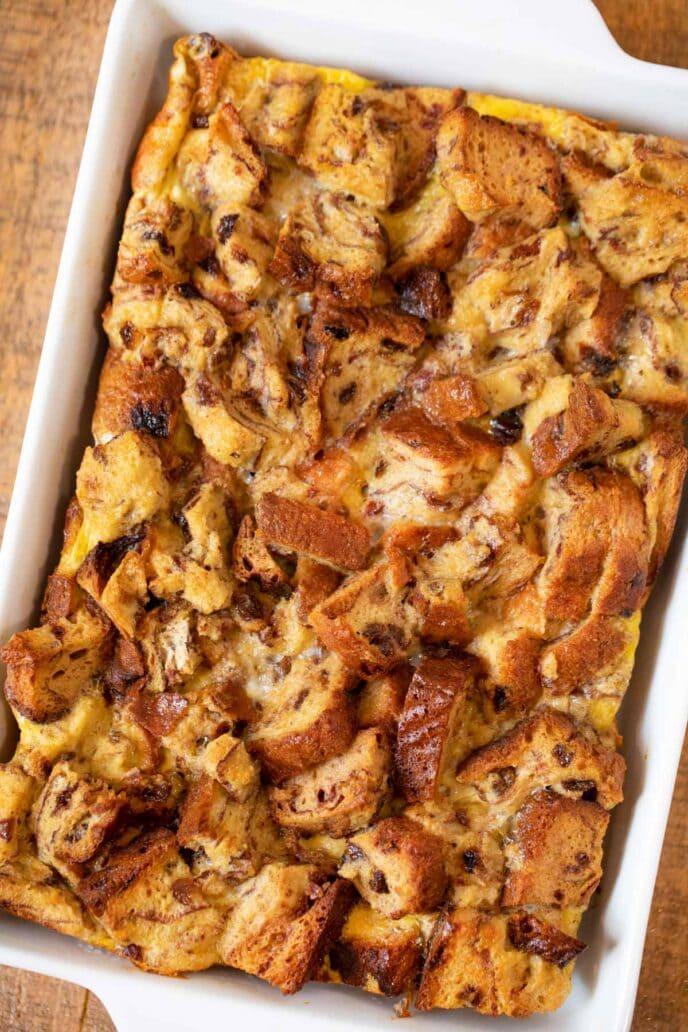 Cinnamon Raisin French Toast Casserole in baking dish
