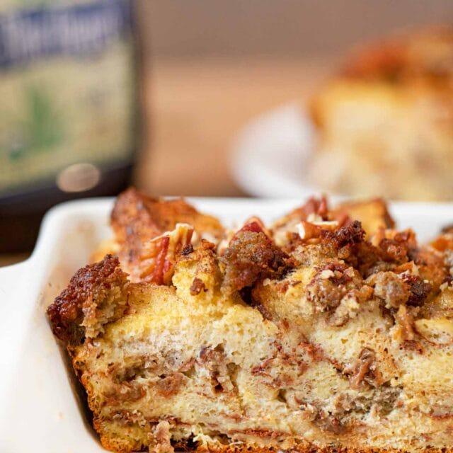 Cinnamon Raisin Sausage Breakfast Bake cross-section in baking dish