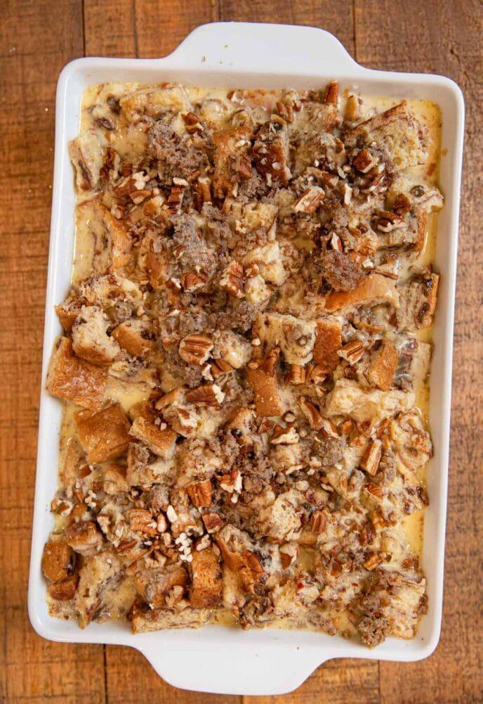 Cinnamon Raisin Sausage Breakfast Bake top view in baking dish