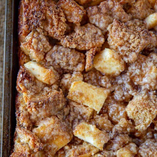 Cream Cheese French Toast Bake in baking pan