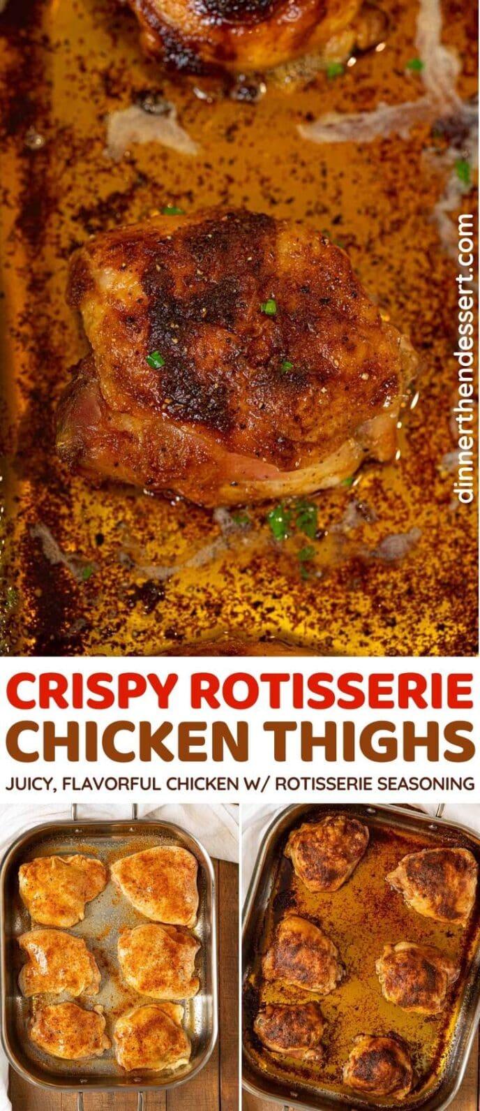 Crispy Rotisserie Chicken Thighs collage
