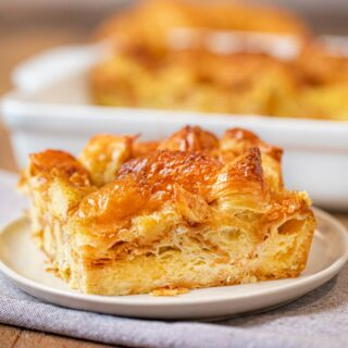 Croissant French Toast Bake on beige plate