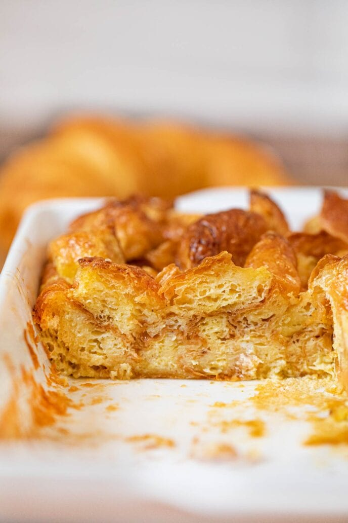 Cross section of Croissant French Toast Bake in baking dish